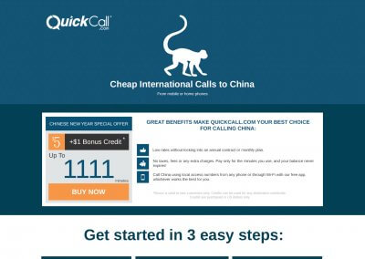 QuickCall – landing page design
