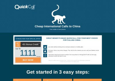 QuickCall – landing page China design