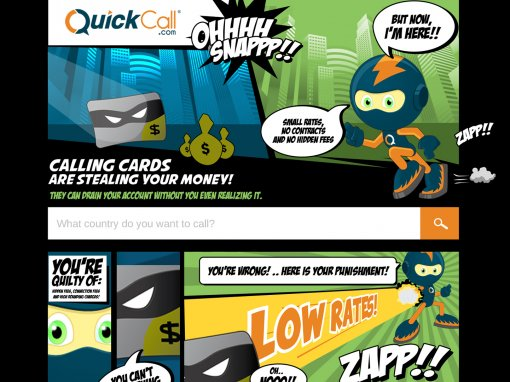 QuickCall – Comic Book – Landing Page Design